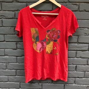 Lucky Brand Retro Red 'LOVE' Knotch V-Neck Tee M